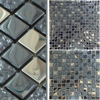 Mosaik Fliser Glas Metal Mix Whitney Sølv Sort