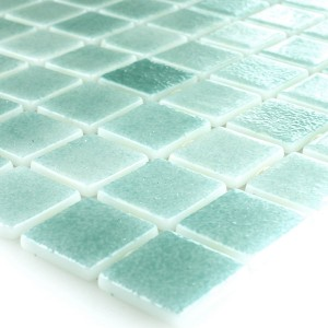 Glas Swimmingpool Mosaik 25x25x4mm Türkis Mix