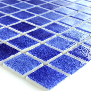 Glas Swimmingpool Mosaik 25x25x4mm Mørkeblå Mix