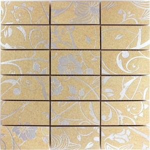 Mosaik Fliser Teros Ornament Flower Beige Skifer