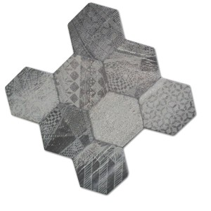 Gulvfliser Hexagon Hologram Optik 45x45cm