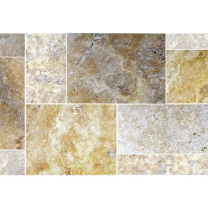 Naturstenfliser Travertin Castello Guld Roman Pattern