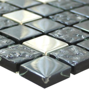 Mosaik Fliser Glas Metal Mix Whitney Sølv Sort 23