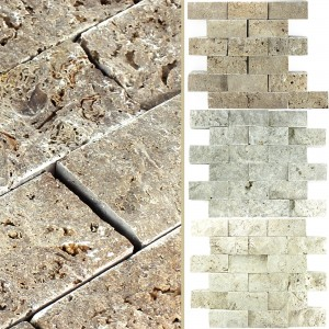 Travertin 3D Mosaik Fliser Sumba Brick